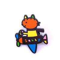 Sebby Cat Airplane 1 inch enamel pin