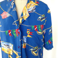 Vintage Blue Nautical Flags Blouse by Alfred Dunner / Size 14