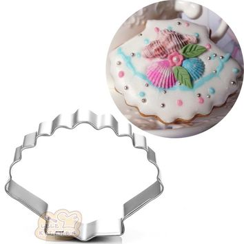 seashell scallop metal cookie cutter Ocean decor gateau biscuit stamp patisserie Sushi fondant cake pastry tool BG050 6.2*5cm