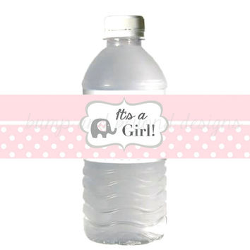 Water Bottle Labels It's a Girl Baby Shower Powder Pink Grey Elephant INSTANT DOWNLOAD DIY Printable Water Bottle Label Baby Shower Favor 14