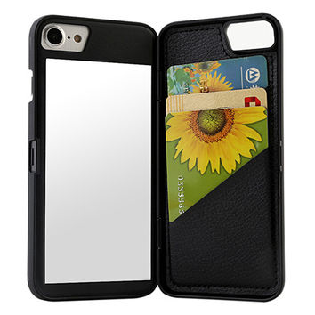 iPhone Mirror & Wallet Case Black