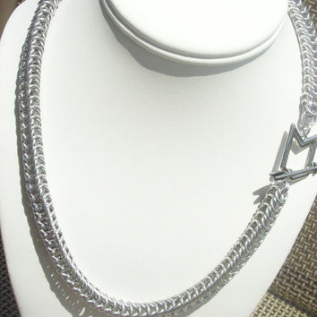 Chevron Chainmaille Necklace - Arrow, Handmade, Silver