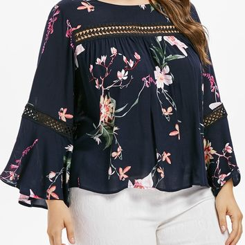 Floral Printed Lace Panel Long Sleeve Blouse 4302