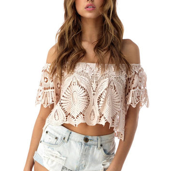 Sky - Bahiyya Abilene Lace Crop Top
