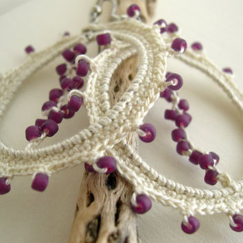 Lace Earrings Ivory Cream Beige Cotton Lacy trends Spring Fashion Purple Beads Handmade Crochet Lace lacy Big Hoops Earrings