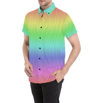 Groovy Pastel Rainbow Men's All Over Print Short Sleeve Shirt (Model T53) | ID: D2815954