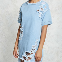 Destroyed Denim Shift Dress