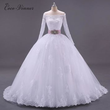 C.V Robe De Mariage 2018 Boat Neck Dubai Islamic Lace Wedding Dress With Sashes Court Train Ball Gown Vestido De Noiva W0005