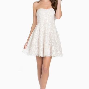 sweetheart sequin fit & flare dress