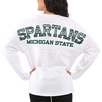 Women's Michigan State Spartans White Aztec Sweeper Long Sleeve Oversized Top