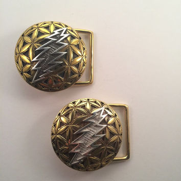 Grateful Dead ~ Brass Flower of Life Belt Buckle with Silver 13 Point Bolt ~ Sacred Geometry
