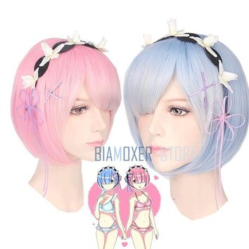 Re zero Ram Rem Wigs Headdress Re:Life In A Different World From Zero Cosplay Costumes Blue Pink Swimsuits