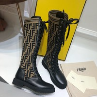 Kuyou Gx39930 Fendi Women Rocko Boots With Round Toe And A Distinctive High Boot Leg In Stretch Fabric
