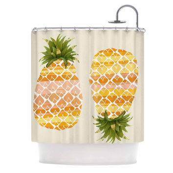"Judith Loske ""Happy Pineapples "" Yellow Gold Shower Curtain"