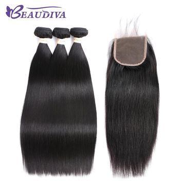 Beaudiva Hair Pre-colored Brazilian Hair Straight Hair 3 Bundles 100% Human Hair Bundle With Closure Nature Color Free Shipping 1