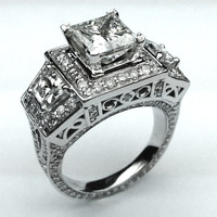 Engagement Ring - Large Princess Cut Diamond Engagement Ring Brilliant Trapezoids side Diamonds - ES1144PR