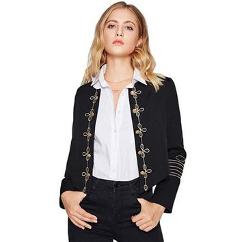 Golden Button Embellished Embroidery Black Blazer