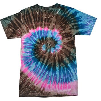 Tie Dye Shirt Multi Color Spiral Blue Pink Brown Tour Bus Kids T-Shirt