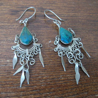 vintage Silver Earring / Tibetan Jewelry / Tibetan Earrings / Turquoise Jewelry Tibetan / Wire Earrings / Chandelier Earring / Boho Jewelry