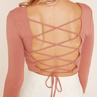 Lace-Up Back Crop Top