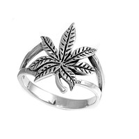925 Sterling Silver Cannabis Indica 17MM Ring