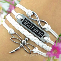 Infinity charm bracelet - silver best friend bracelet - flying dragonfly bracelet - fashion bracelets - blessing - girlfriend and BFF