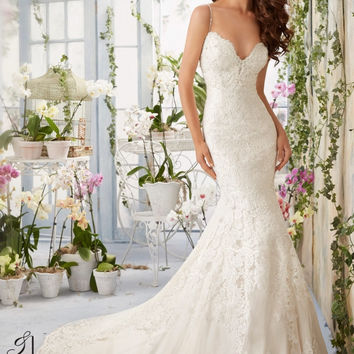 Blu by Mori Lee 5415 Low Back Lace Fit & Flare