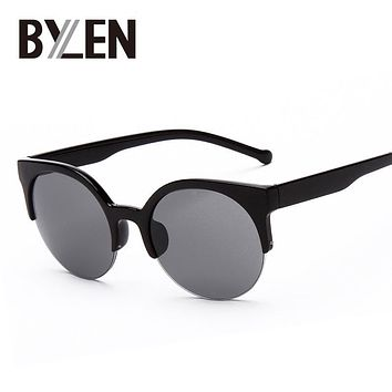Hot Sale Vintage Sunglasses Retro Cat Eye Semi-Rim Round Sunglasses for Men Women Sun Glasses Eyewear Fashion Eyeglasses