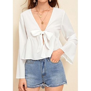 Women Solid Long Sleeve Ruffle Ruched Lace Up Top