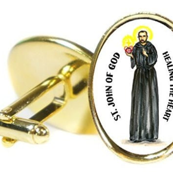 Saint John of God Patron of Healing the Heart Oval Gold Pair of Cuff Links