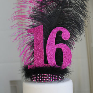 Feather Sweet Sixteen Cake Topper