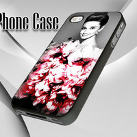 Audrey Hepburn and Flowers - Print Case - Black, White - iPhone 4/4s, 5 - Samsung S3 i9300, S4 i9500 - iPod 4, 5 - Plastic, Rubber