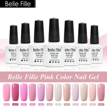 Belle Fille 10ml Pink Color Series UV Nail Gel Polish Rose Gel UV LED Pink Gel Nail Lacquer Soak Off Varnish fingernail Polish
