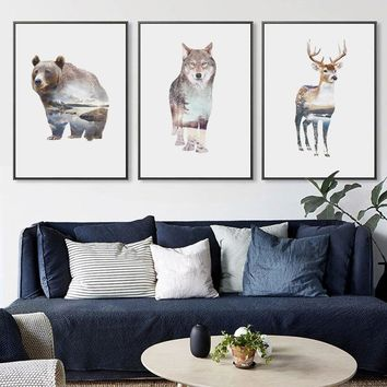 Nordic Landscape Silhouette Deer Canvas Art Posters and Prints Wall Art Picture Bear Owl Fox Painting Modern Home Decoration