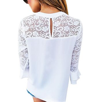FUNOC Apparel White Blouse Shirt Women Top Femme Lace Hollow Out Ruffle Sleeve blusas mujer Bohemian  Autumn Ladies Office Boho Top
