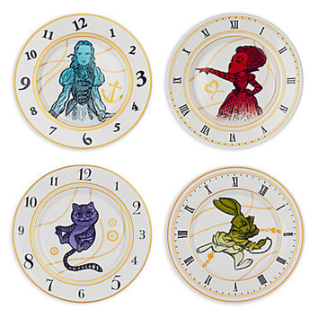 disney alice through the looking glass ceramic plate set of 4 new with box