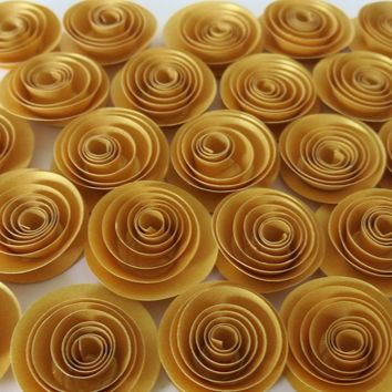 "Metallic Gold Rose set of 24, 50th Anniversary Party Table Decor, 1.5"" Paper Flowers set, Classy Wedding, Modern shower"