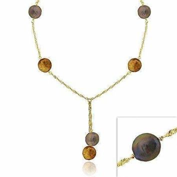 18K Gold over Sterling Silver Freshwater Cultured Peacock & Champagne Coin Pearl Lariat Necklace