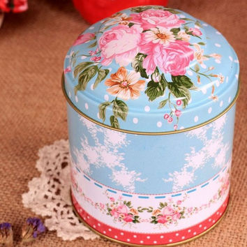 Retro Style Blue Rose Flower Kitchen Coffee Tea Sugar Container Jar Tin Metal