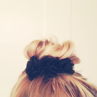 Black Chiffon Hand Sculpted Floral Crown Bun Wrap by emmaflhair