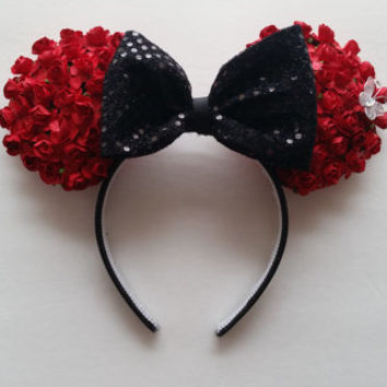 Minnie Mouse Inspired Red Floral Rose Ears Headband with Black Sequins Bow and butterfly.