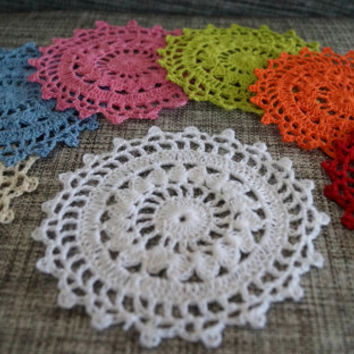Set 7 Vibrant Doilies- Handmade Crochet- Spring Collection- Table Decor