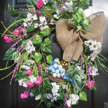 Farmhouse Door Wreath, Woodland Wreath, Woodland Spring Wreath, Farmhouse Wreath, Woodland Summer Wreath, Spring Summer Front Door Wreath