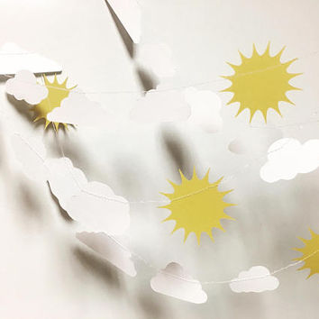 Sun and cloud garland - nursery decor, baby shower, 1st birthday