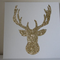Gold Glitter Reindeer Canvas Wall Art