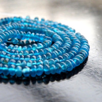 Peacock Apatite Gemstone Smooth Rondelle Neon Teal 3mm 210 beads Full Strand