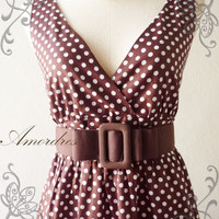 Amor Vintage Inspired PoLkA DoT Cocktail Dress in Dark Brown Shade Party or Everyday Dress