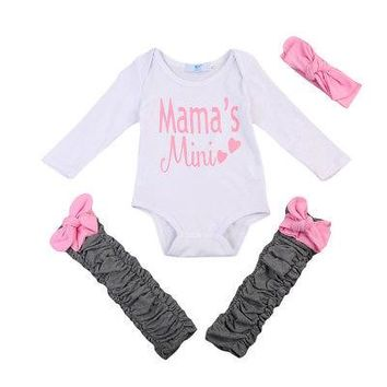 3PCS Newborn Baby Girls Clothes Sets Bodysuit Tops Leg Warmers H 2c5b9f87215e
