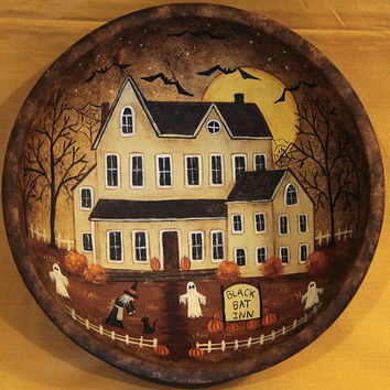 Black Bat Inn Halloween Folk Art Primitive Wood Bowl - MADE TO ORDER -Spooky Mansion, Witch, Bats, Ghosts, Black Cat, Pumpkins, Full Moon