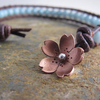 Cherry Blossom Leather Wrap